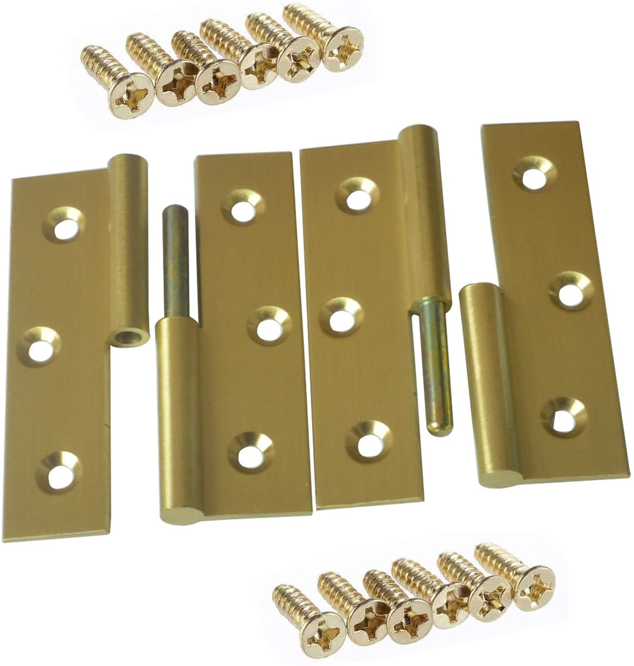 Pair of 2.5 inch Solid Brass Butler Tray Hinge with Screws Satin Finish for Folding Tables - Right Unloading