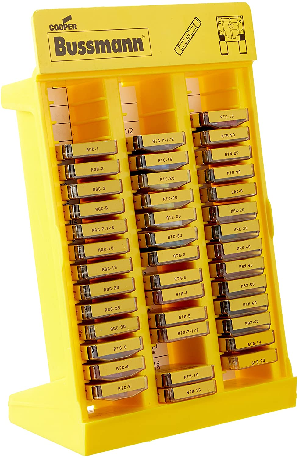 Bussmann No.200 Glass Tube and Blade Type Fuse Display Stand - 172 Fuses