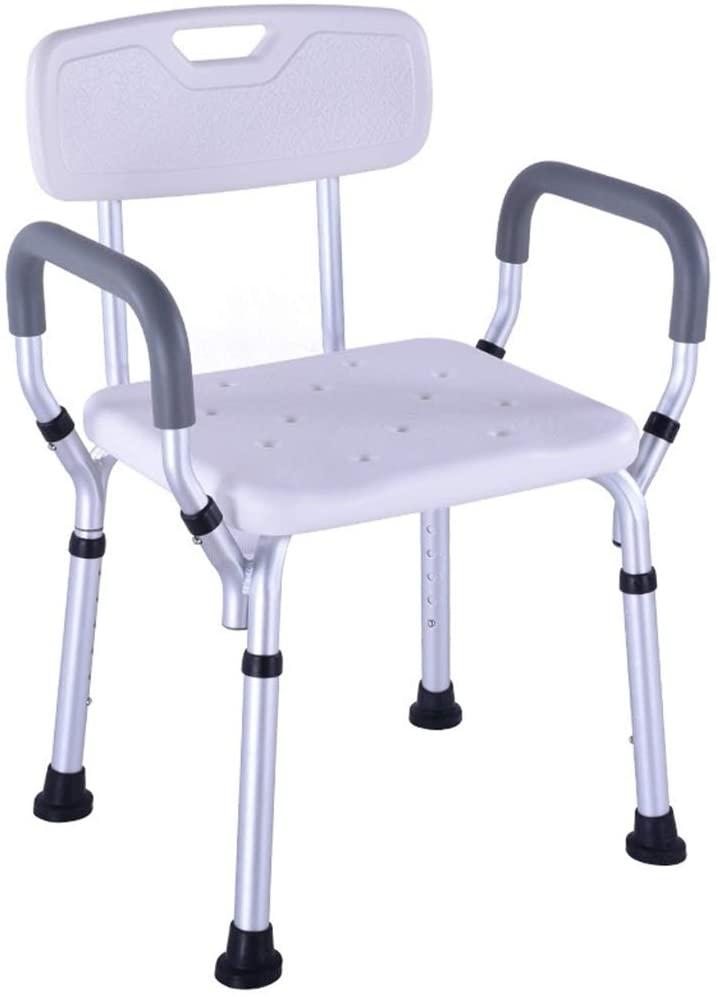 Caperp Bathroom Accessories Height Adjustable with Armrest Back Aluminum Folding Shower Chair Multi-Function Portable Anti-Slip Elderly Pregnant Women Bath Stool