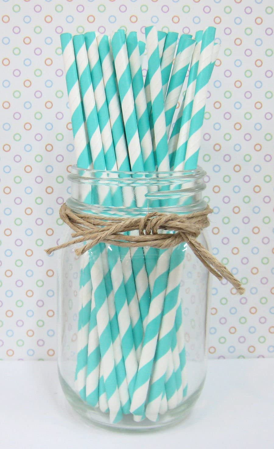 50 Stripped Paper Straws Birthday Wedding Baby Shower Party - Aqua Blue Striped