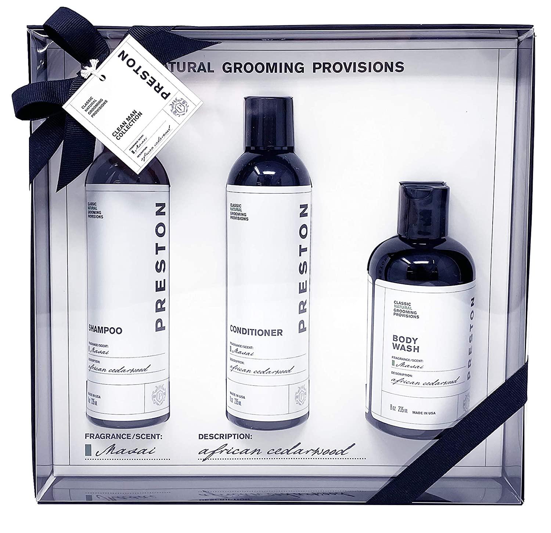 Preston Men's Shampoo, Conditioner and Body Wash Gift Set - Masai African Cedarwood – Plant Based, Vegan, Sulfate-Free & Non-Toxic