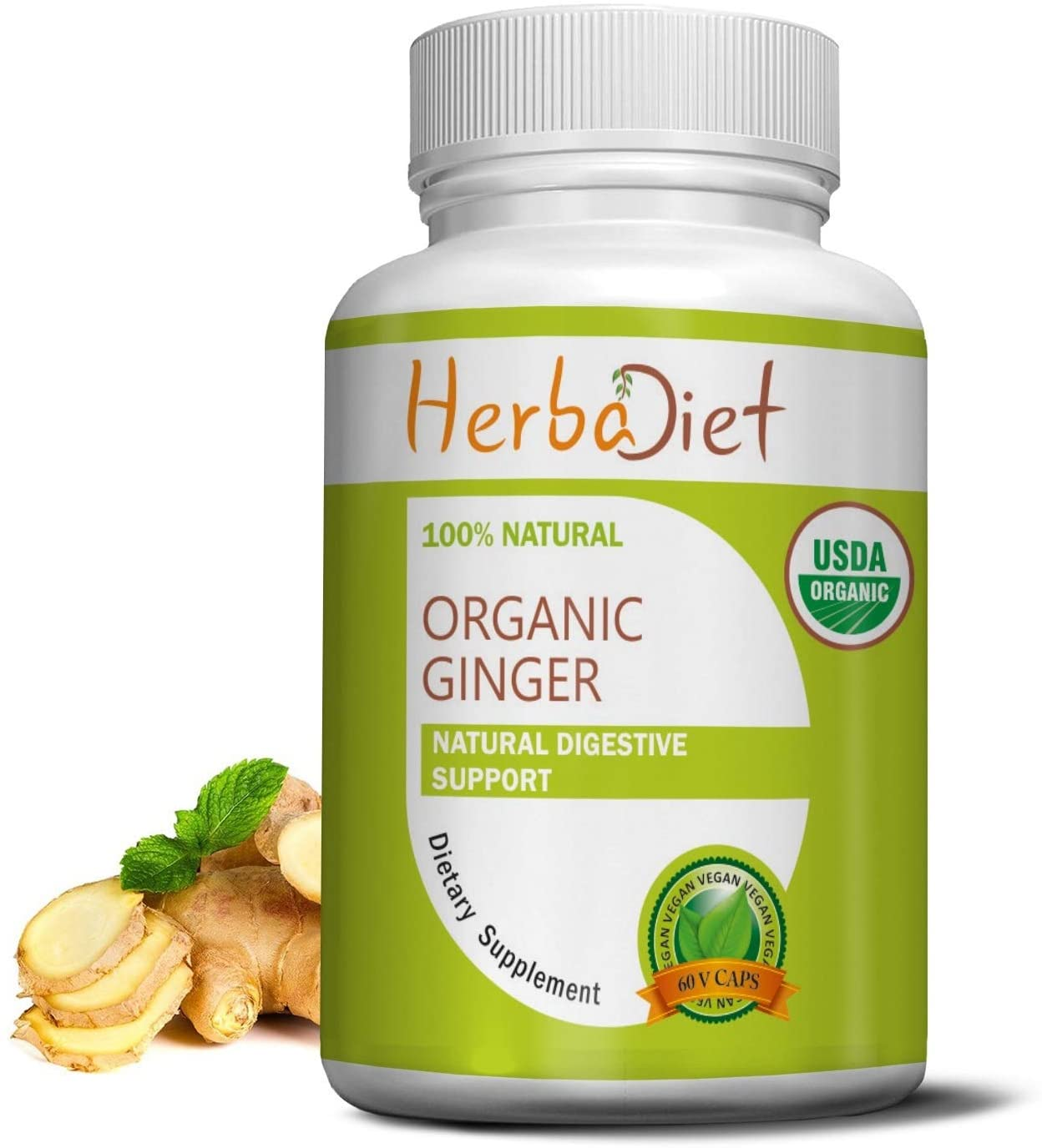 Organic Ginger Root 400mg Capsules | Antioxidant, Metabolism Booster, Immune System & Digestive Support Supplement | Non-GMO, Gluten Free (60 Capsules)