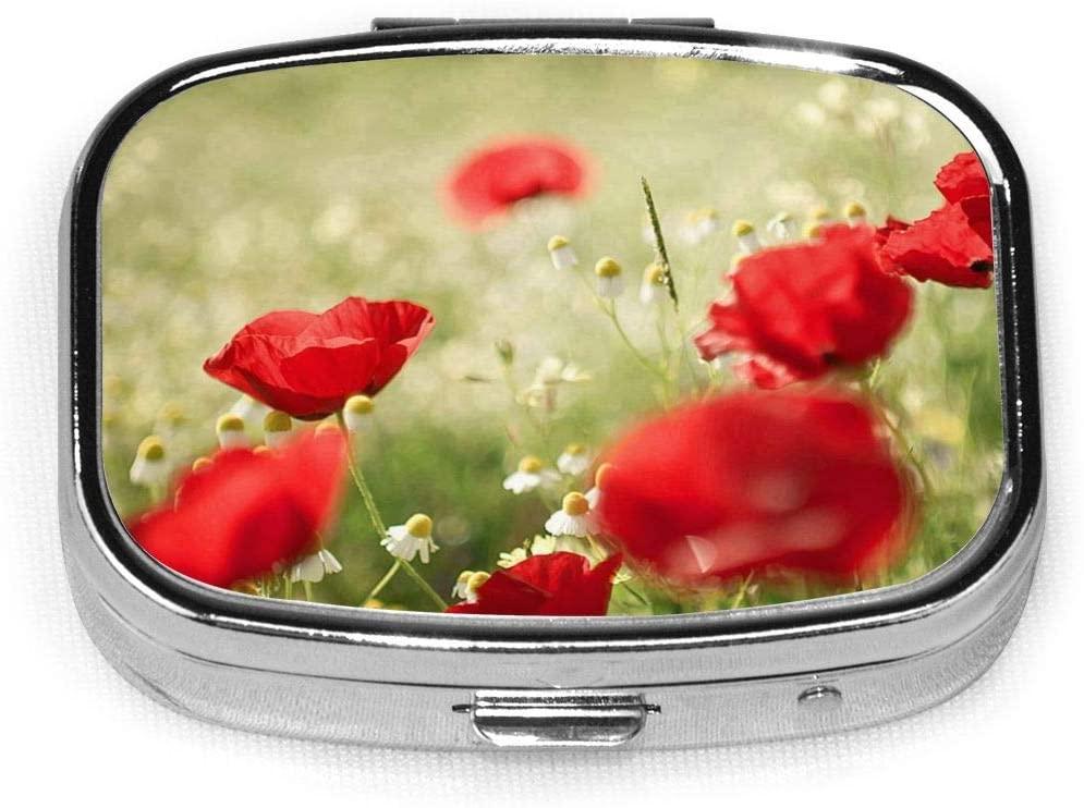 Poppy Flowers Designer Fabulous Stainless Steel Square Slim Design Mini Pill Box Holder