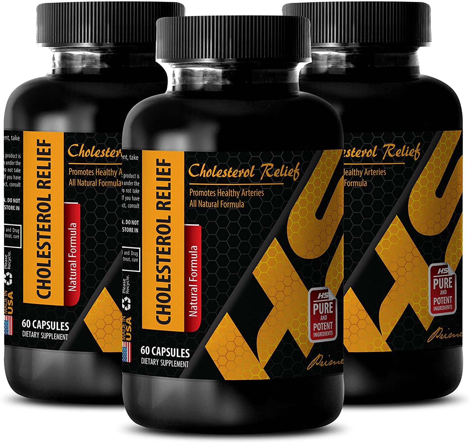 Blood Pressure Diet - Cholesterol Relief - All Natural Formula - Promotes Healthy Arteries - Cholesterol Hair Treatment - 3 Bottles (180 Capsules)