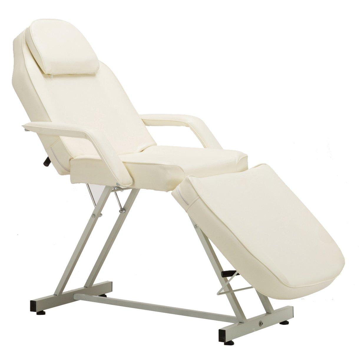 BarberPub 72 inches Adjustable Massage Table Multi-Purpose Salon SPA Beauty Bed Facial Tattoo Table Bed,0015 (Creme White)
