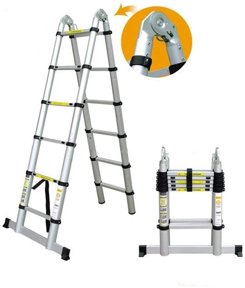Ladders 3.8M Extension Ladder Multi-Purpose Aluminium Telescopic Stepladder Folding Portable A-Fram/Straight Ladders for Outdoor & Indoor (1.9M+1.9M)