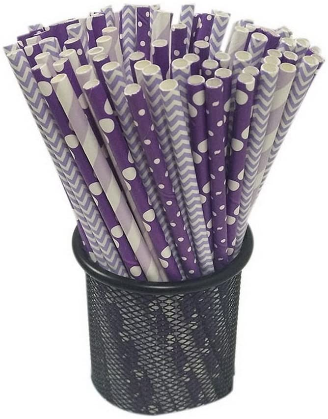Gentle Meow 100 Pack Purple Series Disposable Straws, Decorative Party Beverage Paper Straws