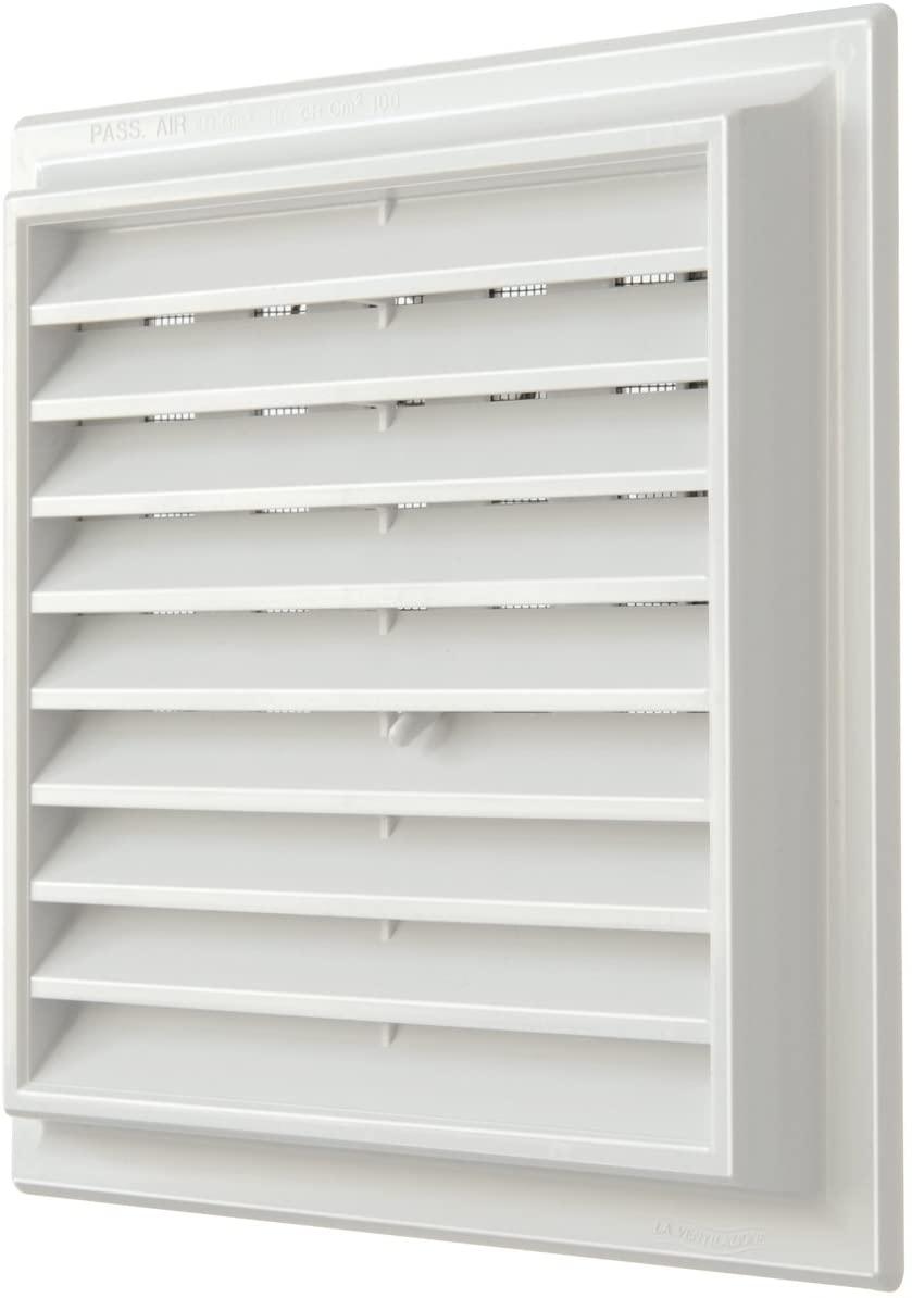 The g1ndr1919b-y Ventilation Grid Plastic with Scoop Superimposed Quadra, White, 189x 189mm
