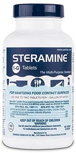1 x Steramine Quaternary Sanitizing Tablets, Sanitizing Food Contact Surfaces, Kills E-Coli; HIV; Listeria, Model 1-G, 150 Sanitizer Tablets per Bottle, Blue, Pack of 1 Bottle