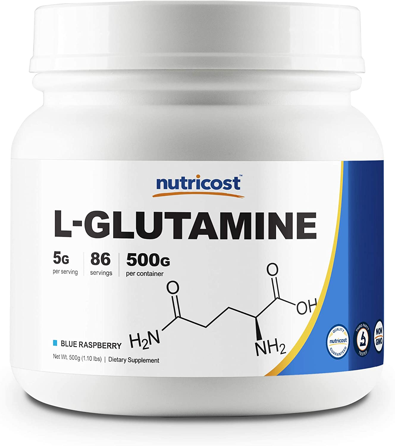 Nutricost L-Glutamine Powder (500 Grams) (Blue Raspberry)