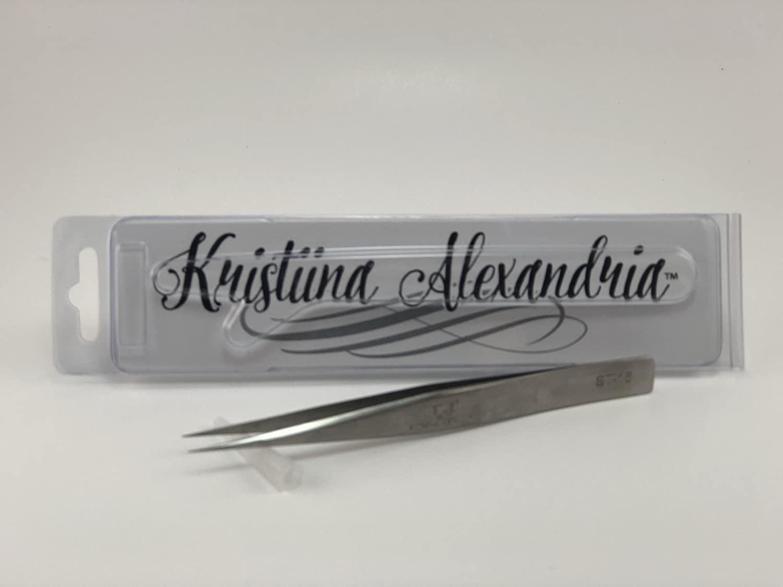 Kristiina Alexandria Eyelash Extension Tweezers Silver Straight
