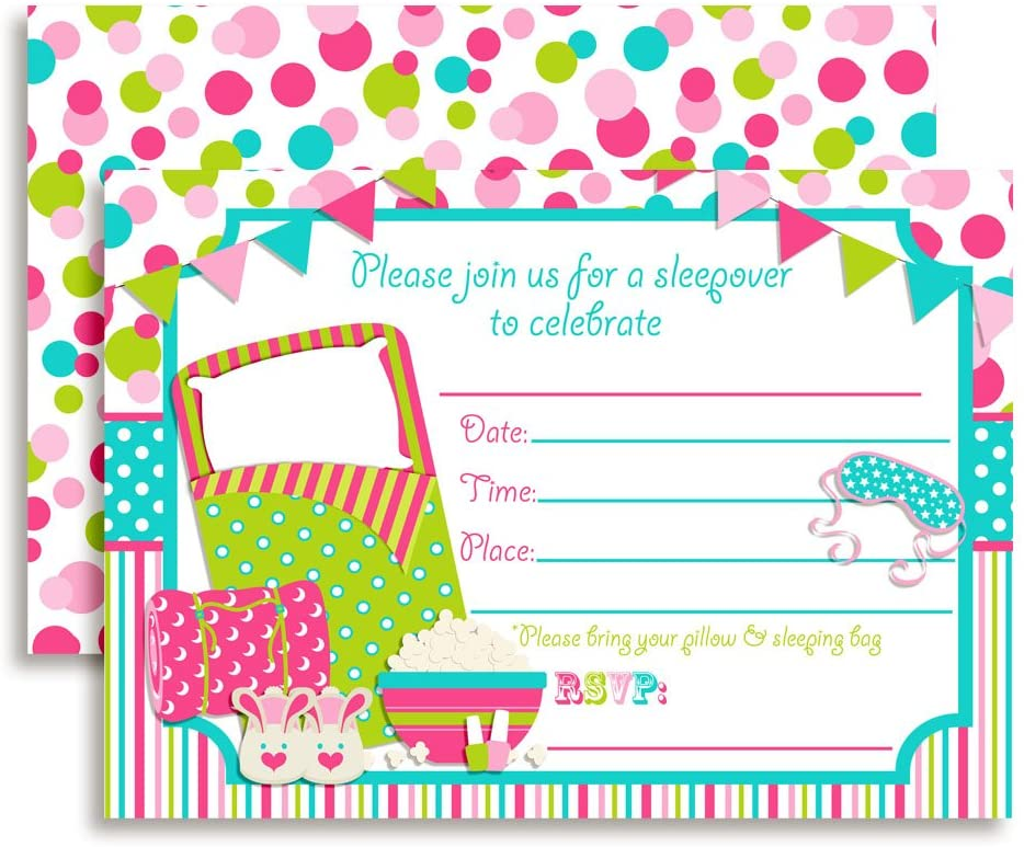 Sleepover, Slumber Party Birthday Invitations, 20 5x7 Fill in Cards with Twenty White Envelopes by AmandaCreation