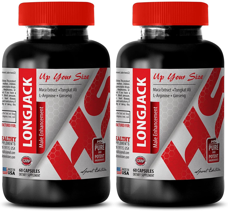 Pills for Men Sex Drive - All Natural LONGJACK 745MG - Longjack Bulk - 2 Bottle (120 Capsules)