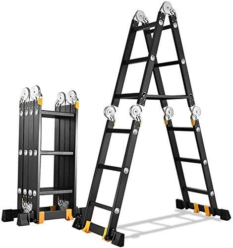CHENNAO Multi-Purpose Aluminum Telescopic Ladder, Heavy Duty Telescoping Extension Ladder for Engineering Loft, 330lbs Capacity