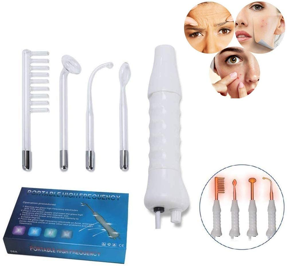 JYY 4 in 1 High Frequency Facial Machine, Anti Aging Device - Skin Tightening - Wrinkle Reducing - Dark Circles - Puffy Eyes Beauty Skin Care Tool
