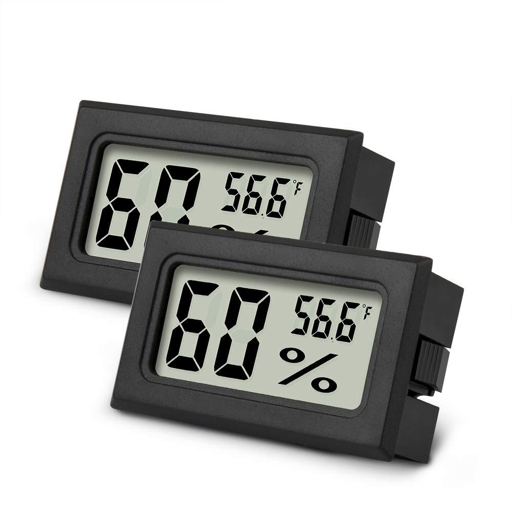 Mini Hygrometer, 2PCS Upgraded Mini Digital Humidity Gauge, AikTryee Hygrometer Indoor Humidity Monitor, Temperature Humidity Gauge Meter for Humidors, Greenhouse, Garden, Cellar, Closet, Etc