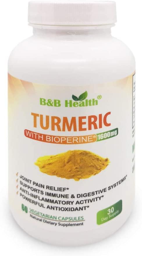 Turmeric Curcumin Max Potency 95 Curcuminoids 1600 Milligram With Black Pepper - BioPerine - Non-GMO - Natural Anti Inflammatory and Joint Pain Relief Antioxidant Supplement - 60 Veggie Caps