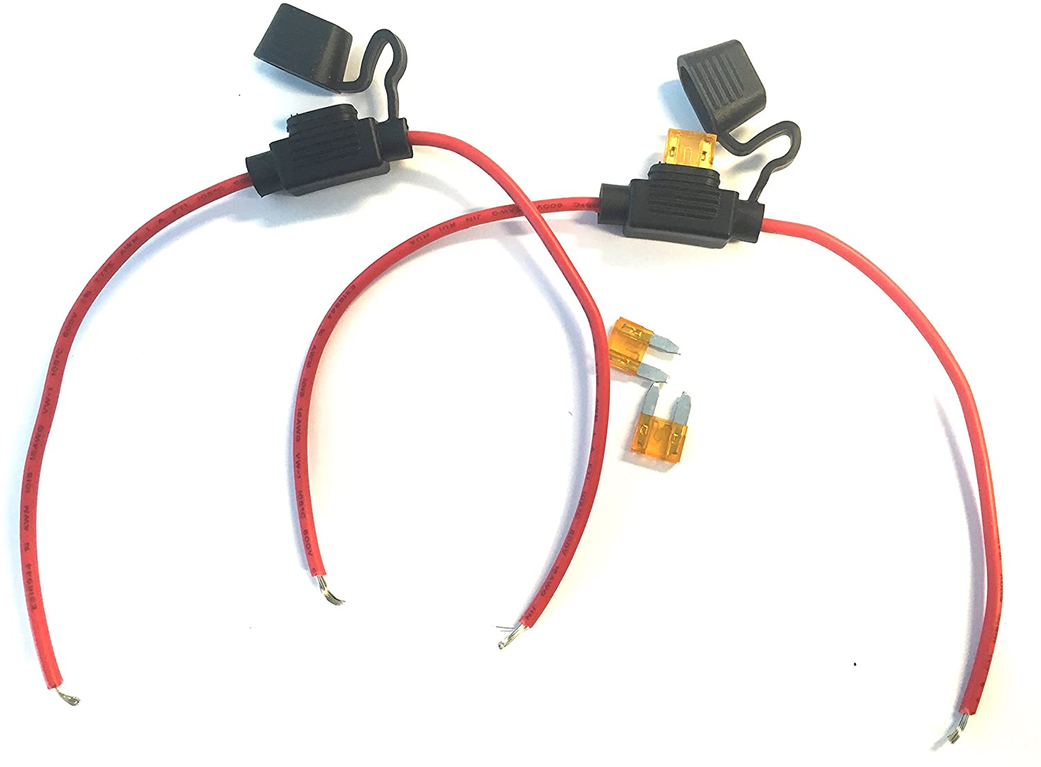 Inline Blade Fuse Holder Cable Leads Fuse Protection Kit - (for auto 12V 24V) 5 Amp