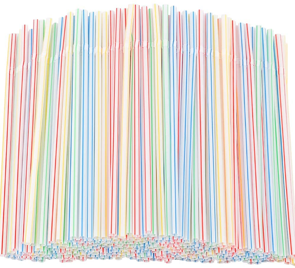 Tomnk 300pcs Flexible Plastic Drinking Straws Bendable Straws Striped Multi Colored Disposable Bendy Straws
