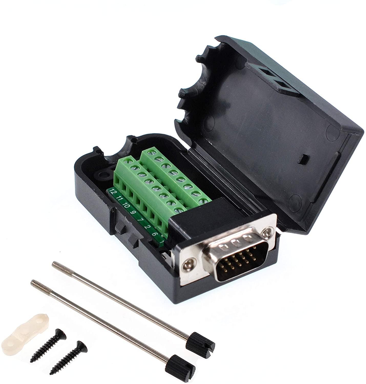 Oiyagai DB15 3+9 D-SUB VGA Male 3Row 15Pin Connector Adaptor Screw Terminal Breakout Board Free Welding