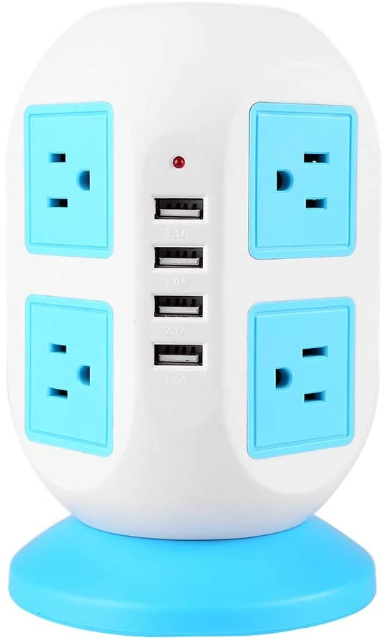 USB Power Strip, Creativity Smart 8 Outlets 4 USB Ports Electric Power Outlets Surge Protector 6.6Ft Extension Cord Desktop Charging Station Ideal for Home Office Blue 110-240V US Plug