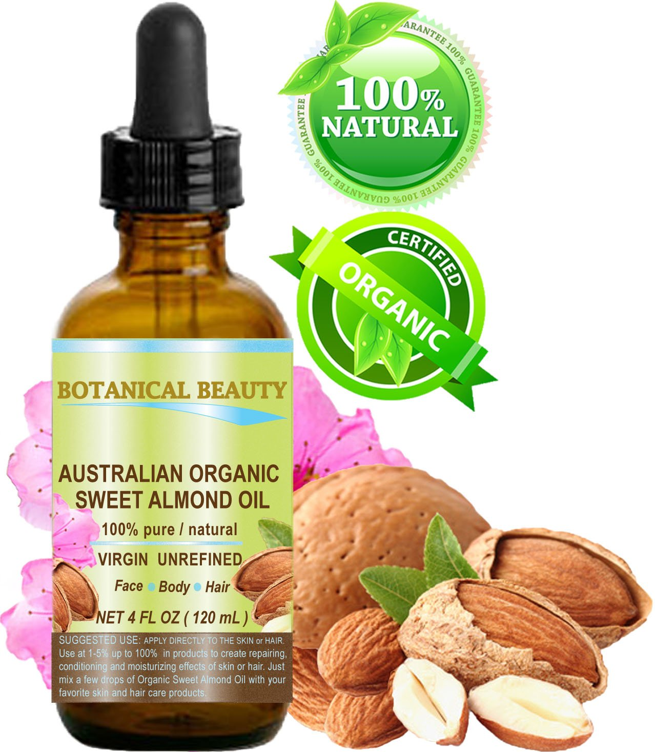 ORGANIC Sweet ALMOND OIL AUSTRALIAN 100% Pure/Virgin/Unrefined. 4 oz - 120 ml. For Face, Hair and Body.