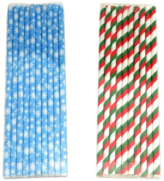 Homeford Snowflake and Striped Christmas Paper Straws, 7-3/4-Inch, 40-Piece