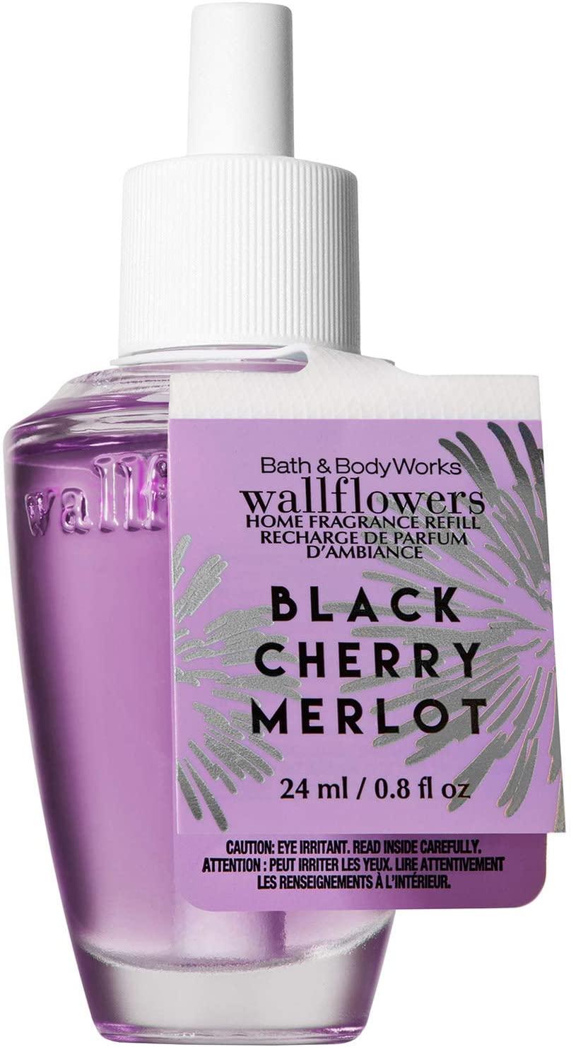 Bath and Body Works BLACK CHERRY MERLOT Wallflowers Home Fragrance Refill 0.8 Fluid Ounce (2018 Holiday Edition)