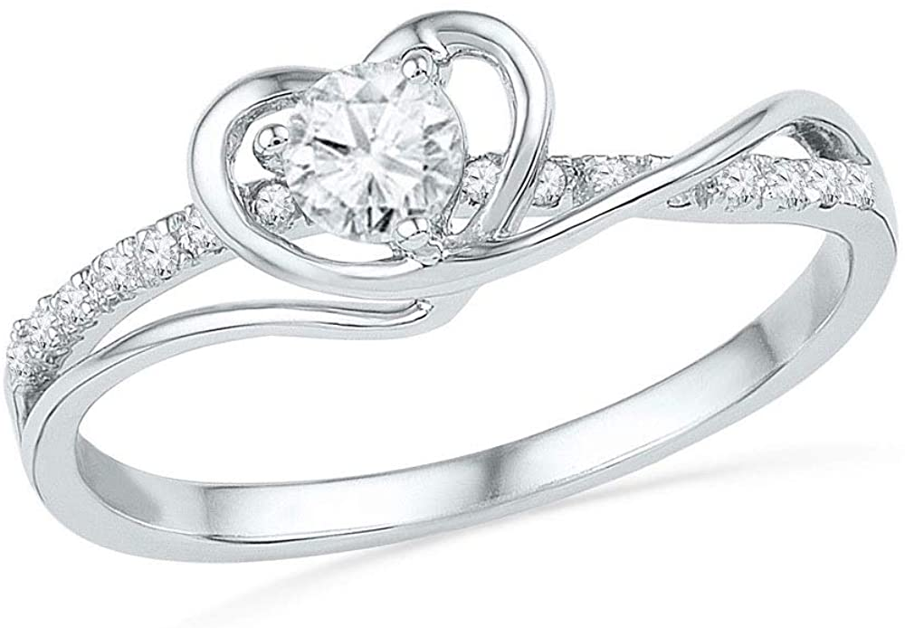 Dazzlingrock Collection 10kt White Gold Womens Round Diamond Heart Promise Bridal Ring 1/4 ctw