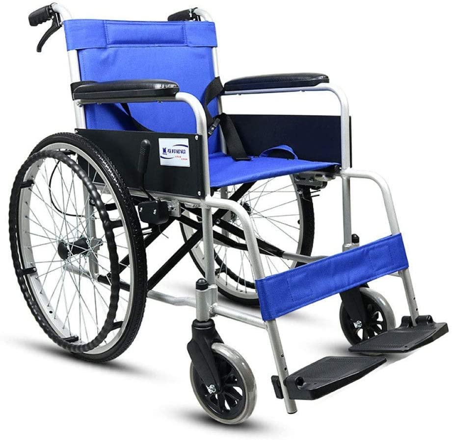 HWZLOIK Wheelchair - Manual Wheelchair with Attendant Operated Brakes, Blue,Easy to Install and Release,Easy to Fold, 63X102X88CM