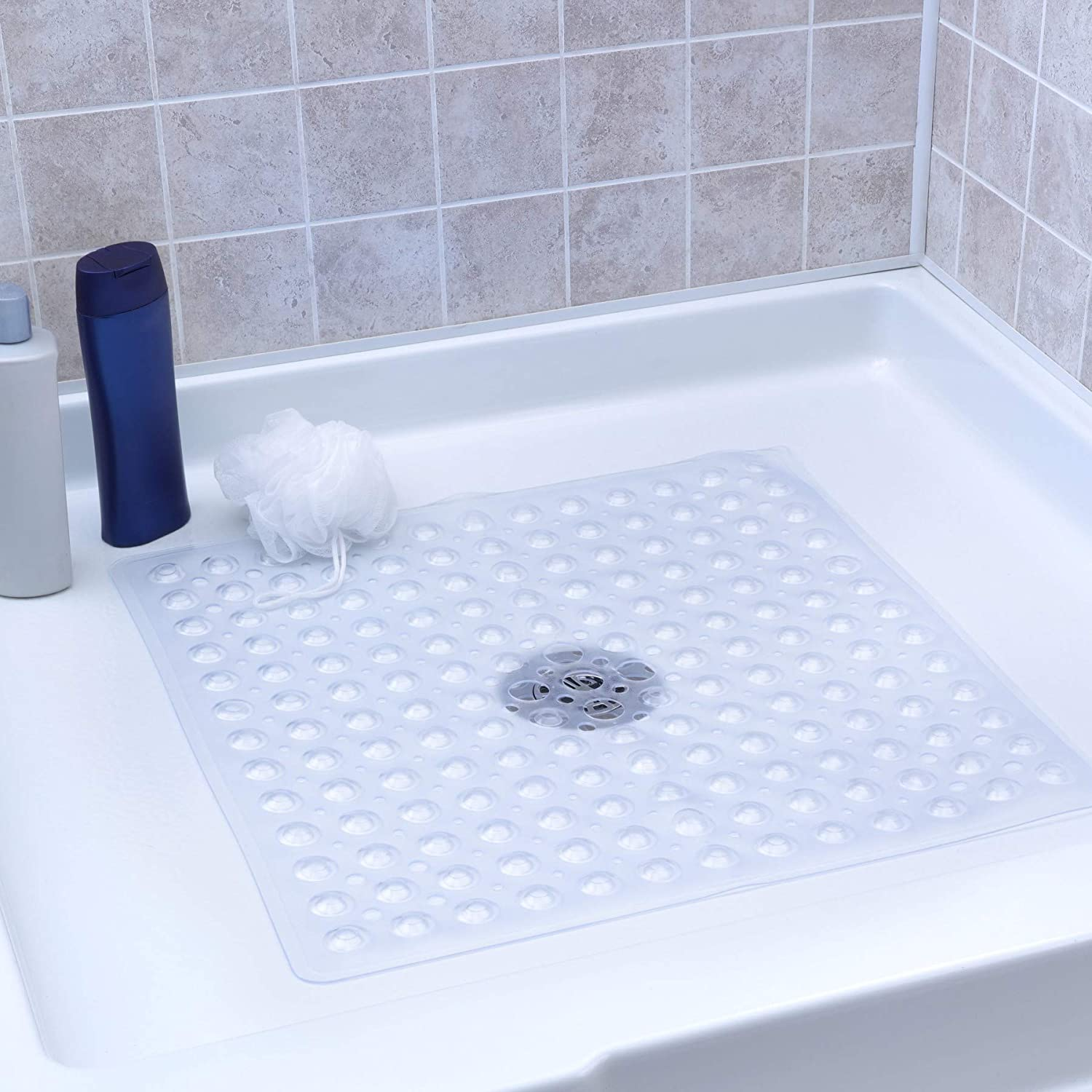 SlipX Solutions Clear Square Shower Stall Mat Provides Reliable Slip-Resistance (21
