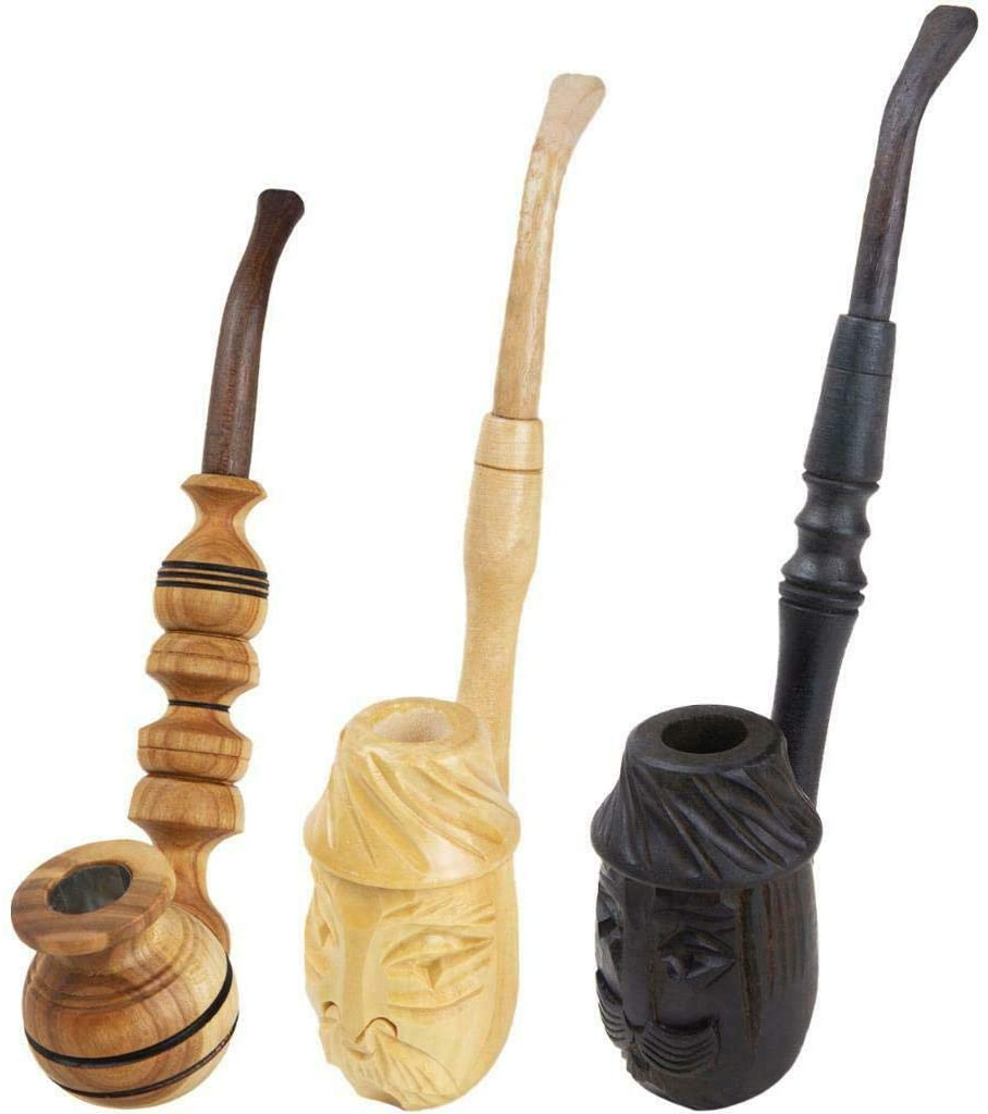 Handmade Wooden Tobacco Pipes Set - 3 Carved Cigarettes Cigar – Portable Wood Root Lightweight Smoking Pipe - 100% Natural Long Engraved Vintage Smoke Pipe - Smokers Gifts