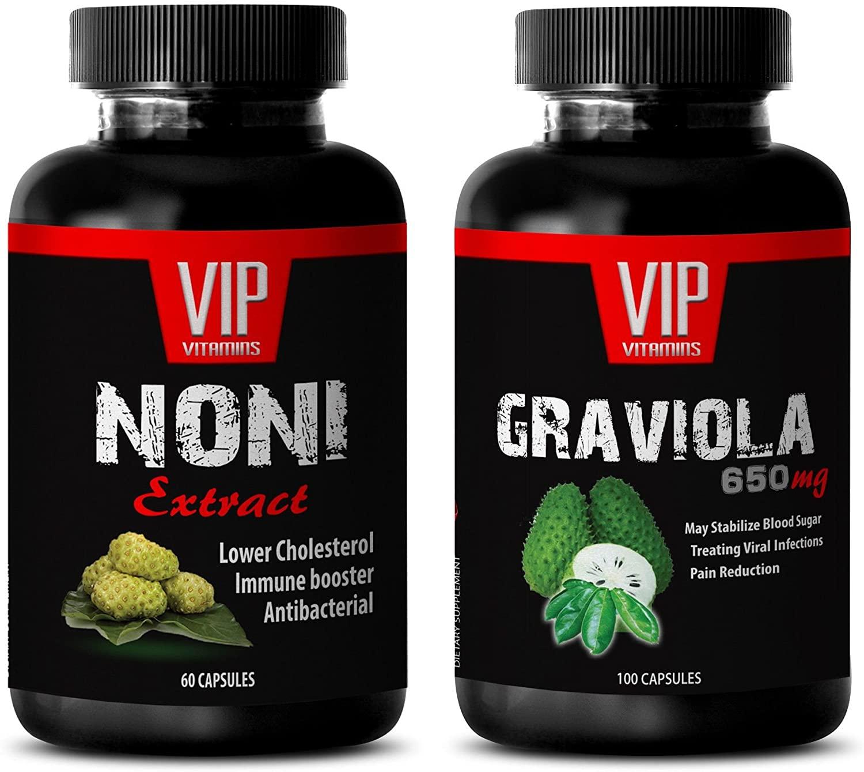Energy and Focus - NONI Extract – GRAVIOLA Extract - noni Organic - 2 Bottles Combo (60 Capsules + 60 Capsules)