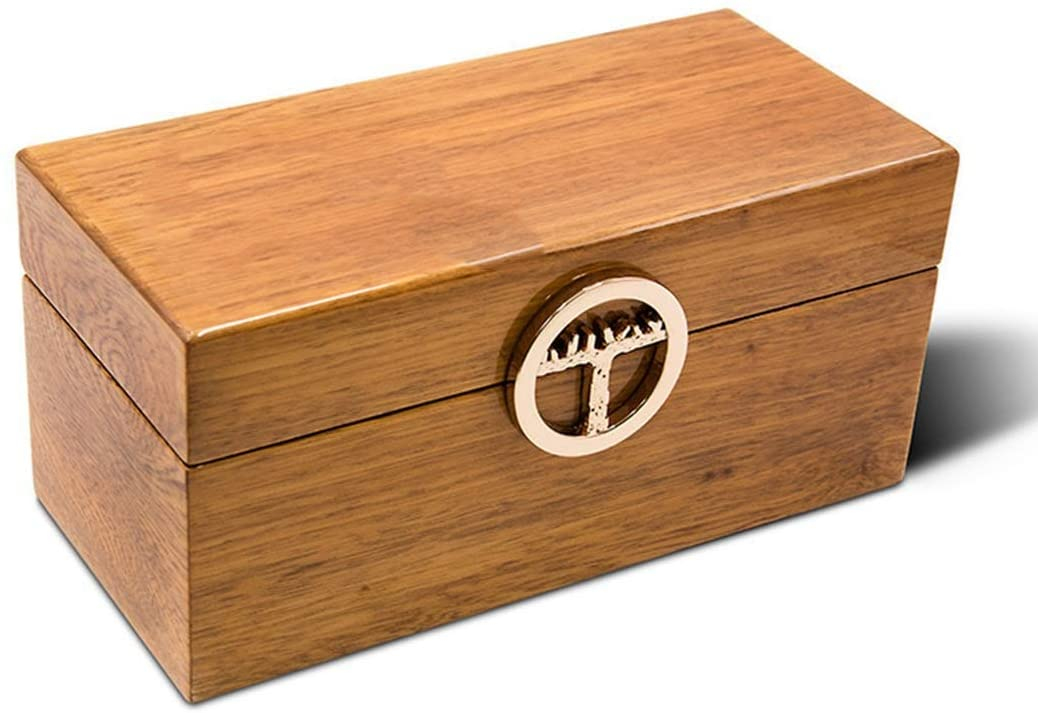 ZH-Wang Cigar Box Cigar Humidor, Desktop Cedar Lined Storage Box with Hygrometer and Humidifier (1 Pack) Cabinet