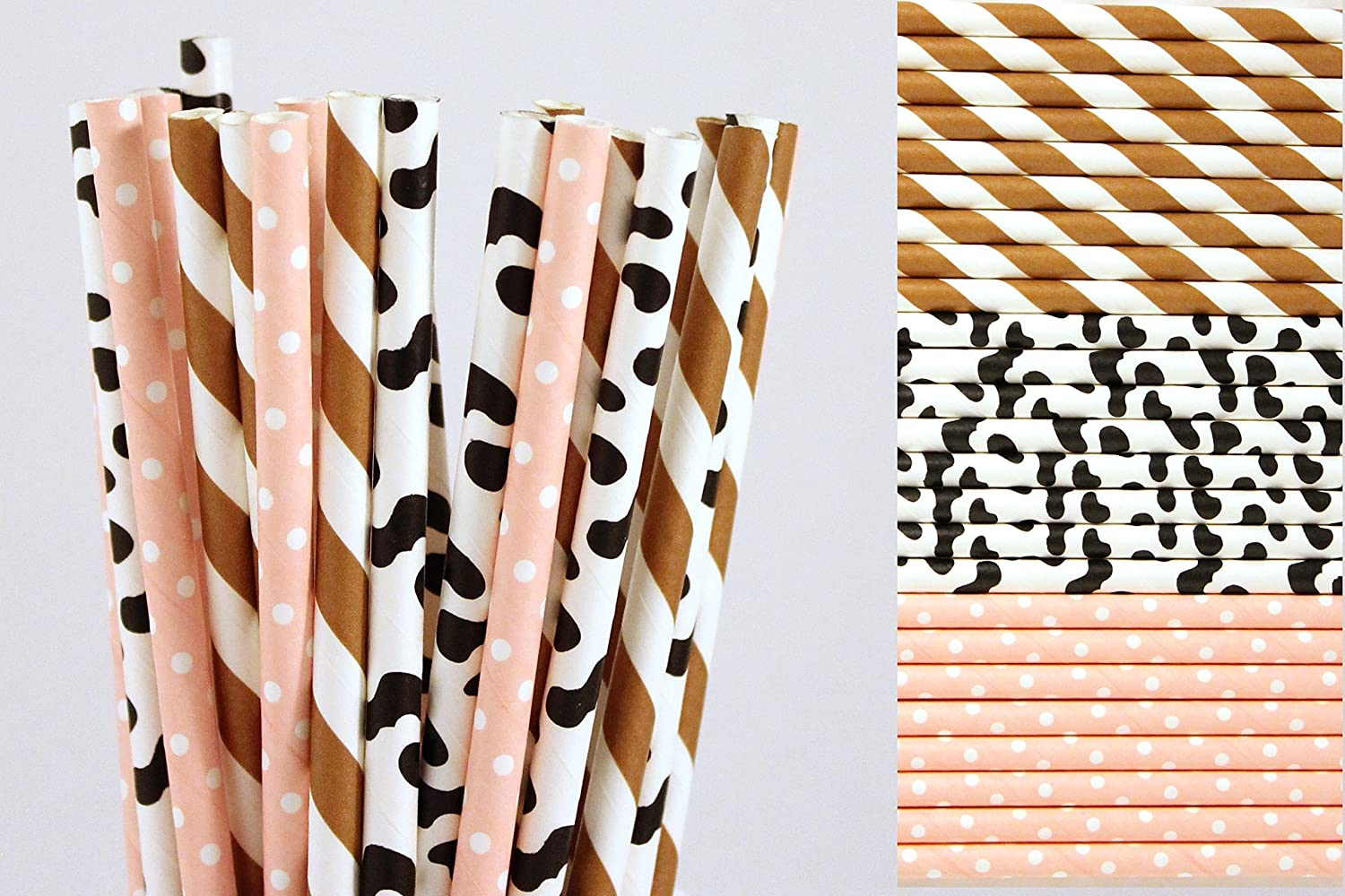 Cowgirl Paper Straw Mix - Brown Striped, Pink Polka Dots, Cow Print (25)