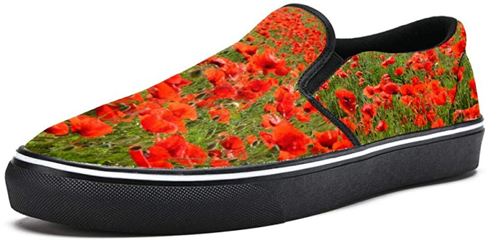 Red Poppy Flowers Sea Canvas Shoes Lightweight Loafers Shoe for Woman