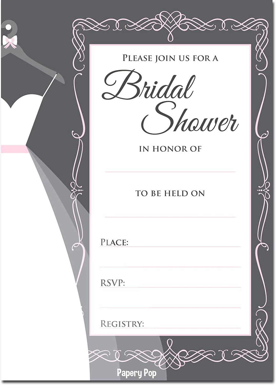 30 Bridal Shower Invitations with Envelopes (30 Pack) - Wedding Shower Invitations - Grey