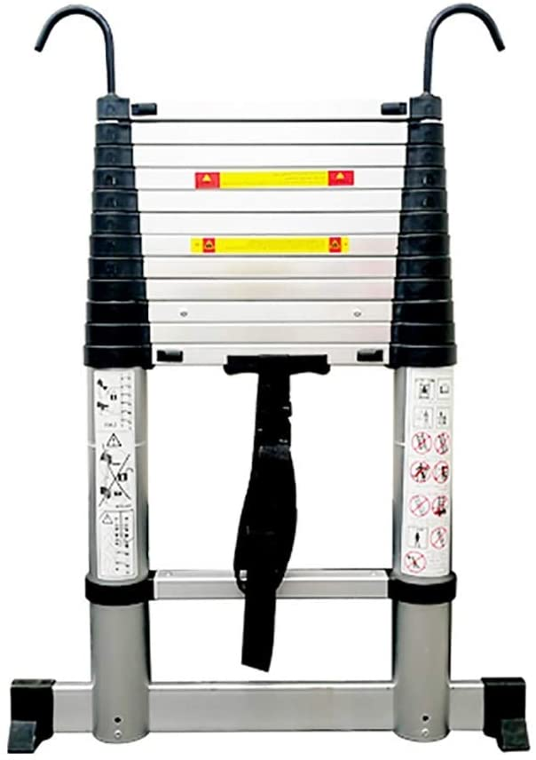 LXX Telescopic Ladder,One-Buttonretraction Aluminum Telescoping Ladder with Stabilizer, Bottom Rung and Detachable Hook,for Outdoor Indoor 330Lb Load Capacity/18 Ft,18 Ft,18 Ft