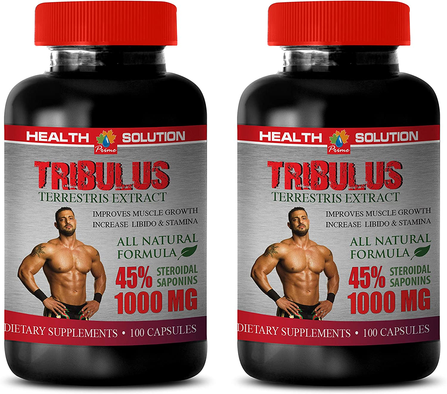 libido and Test Booster - TRIBULUS TERRESTRIS 1000MG - 45% STEROIDAL SAPONINS - tribulus max - 2 Bottles (200 Capsules)