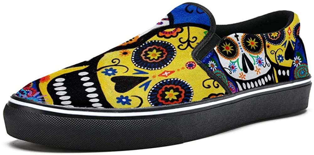 Sugar Skull Canvas Shoes Lightweight Loafers Shoe for Woman