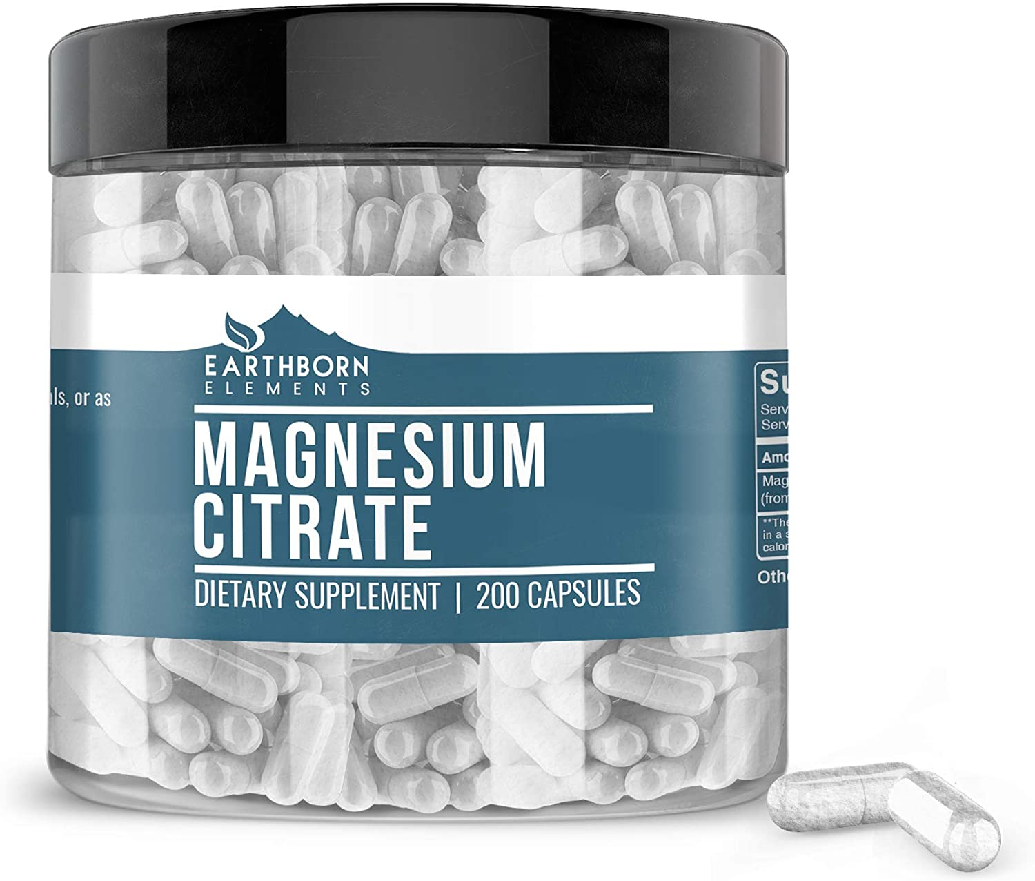 Magnesium Citrate, 200 Capsules, 1,060mg Magnesium/Serving, Non-GMO, Gluten-Free, No Additives or Fillers, Pharmaceutical Grade, Lab-Tested, Made in The USA, Satisfaction Guaranteed