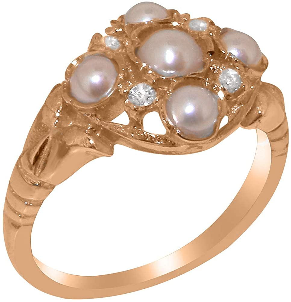 Solid 10k Rose Gold Cultured Pearl & Cubic Zirconia Womens Cluster Ring - Sizes 4 to 12 Available