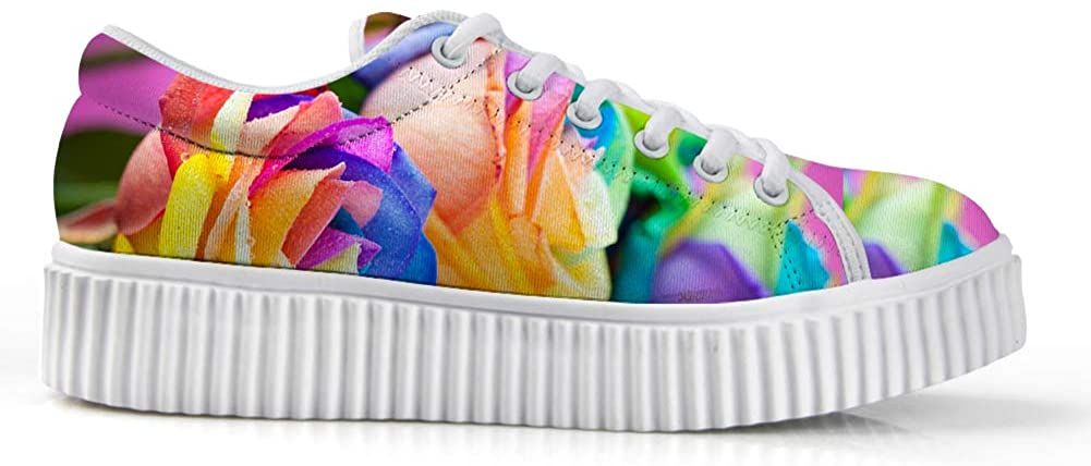 Zzjsstore Design Low Shoes 3D Printed Colorful Flowers Patterned Low Shoes are Suitable for Womens Leisure