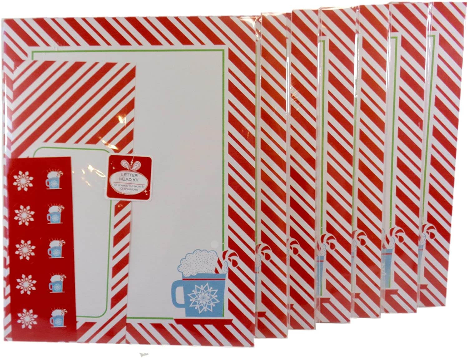 Christmas Candy Cane Striped Paper Letterhead, Envelope & Seals Stationery Set, (10) Sheets/Pkg. Pack of (7)
