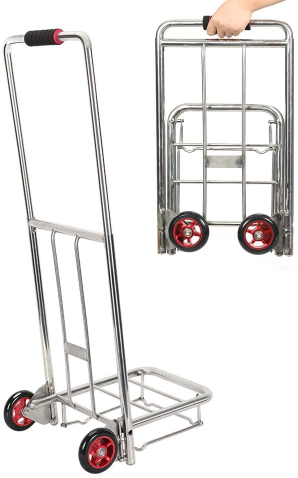 Folding Hand Truck, Portable Hand Truck Luggage Carts Heavy Duty Hand Trucks for Shopping Business Travel Cargo Handling