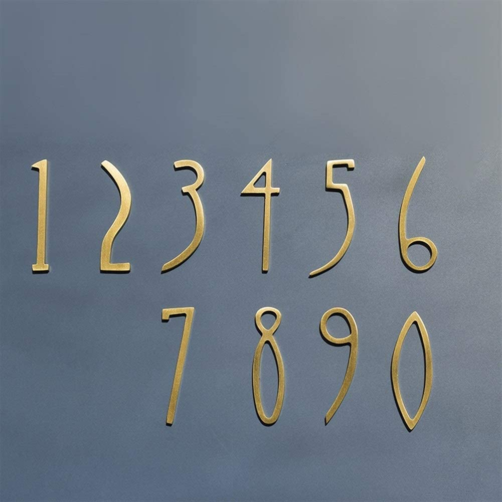 Sign Printed Plaque DIY 0-9# Brass House Number /50mm or 70mm Height/Modern Plaque Number House Hotel Door Address Digits Plate Sign (Color : Number 3, Size : Height 7cm)