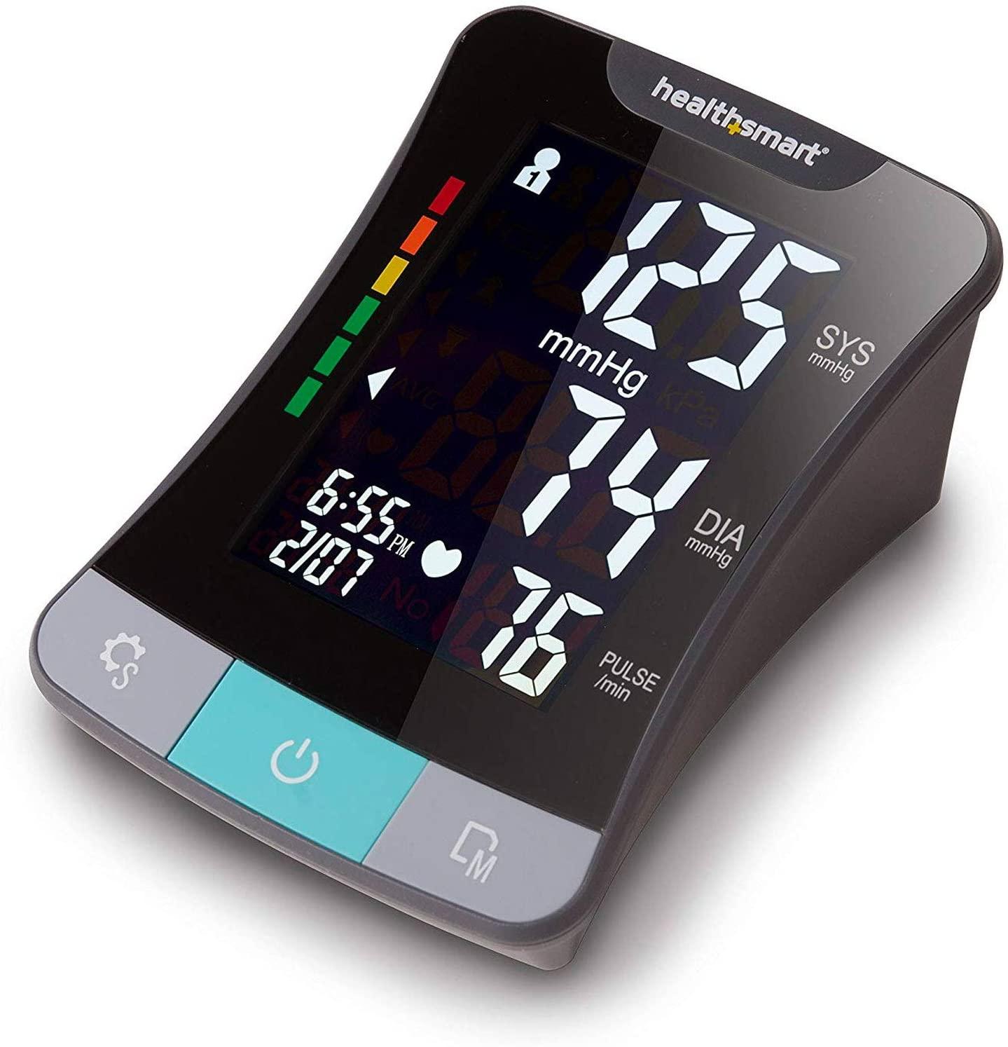 HealthSmart Digital Blood Pressure Monitor for Upper Arm with Clinically Accurate Talking LCD Screen, Includes Standard and Large Size Cuff, Black