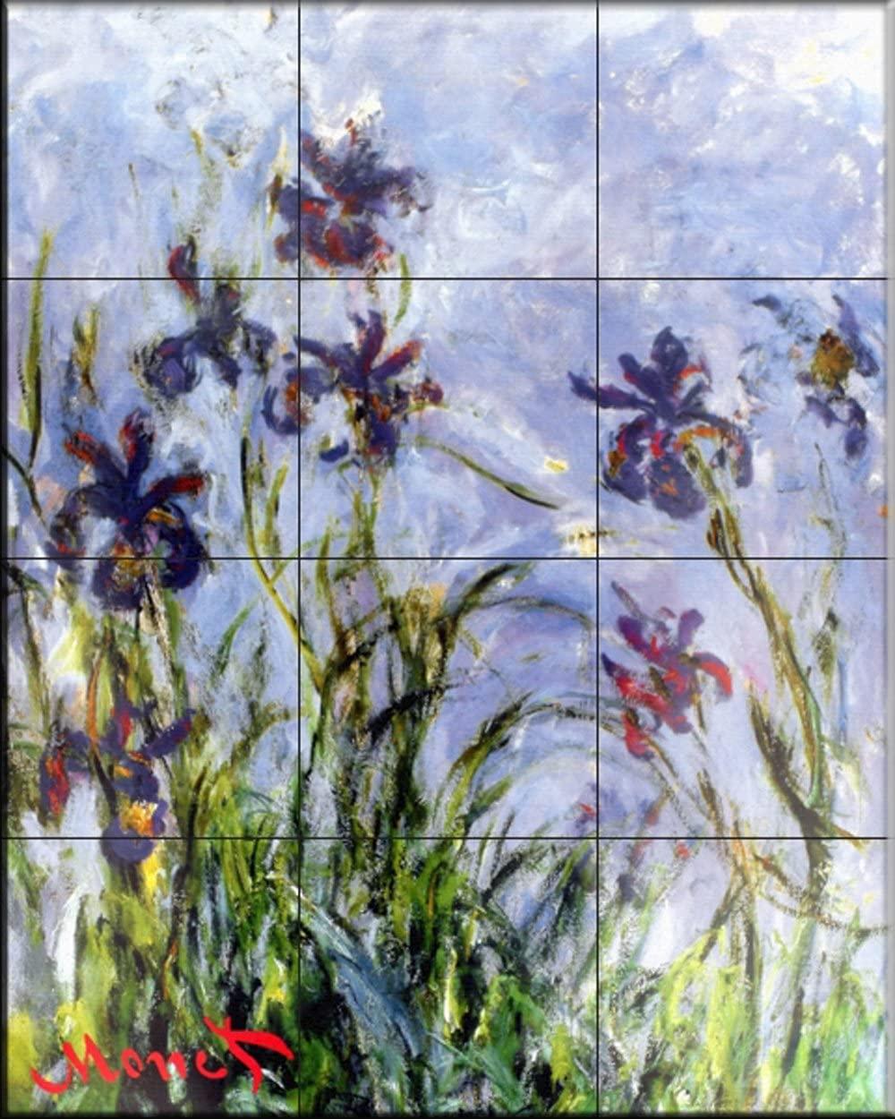Ceramic Tile Mural - Irises - by Claude Monet