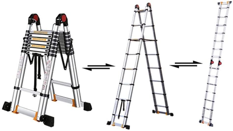 KFDQ Telescopic Ladders,Multi Purpose Aluminum Extension Telescoping Ladder, Heavy Duty Engineering Telescopic Ladder for Cargo Loft, 330Lbs Capacity,2.1m/6.9ft
