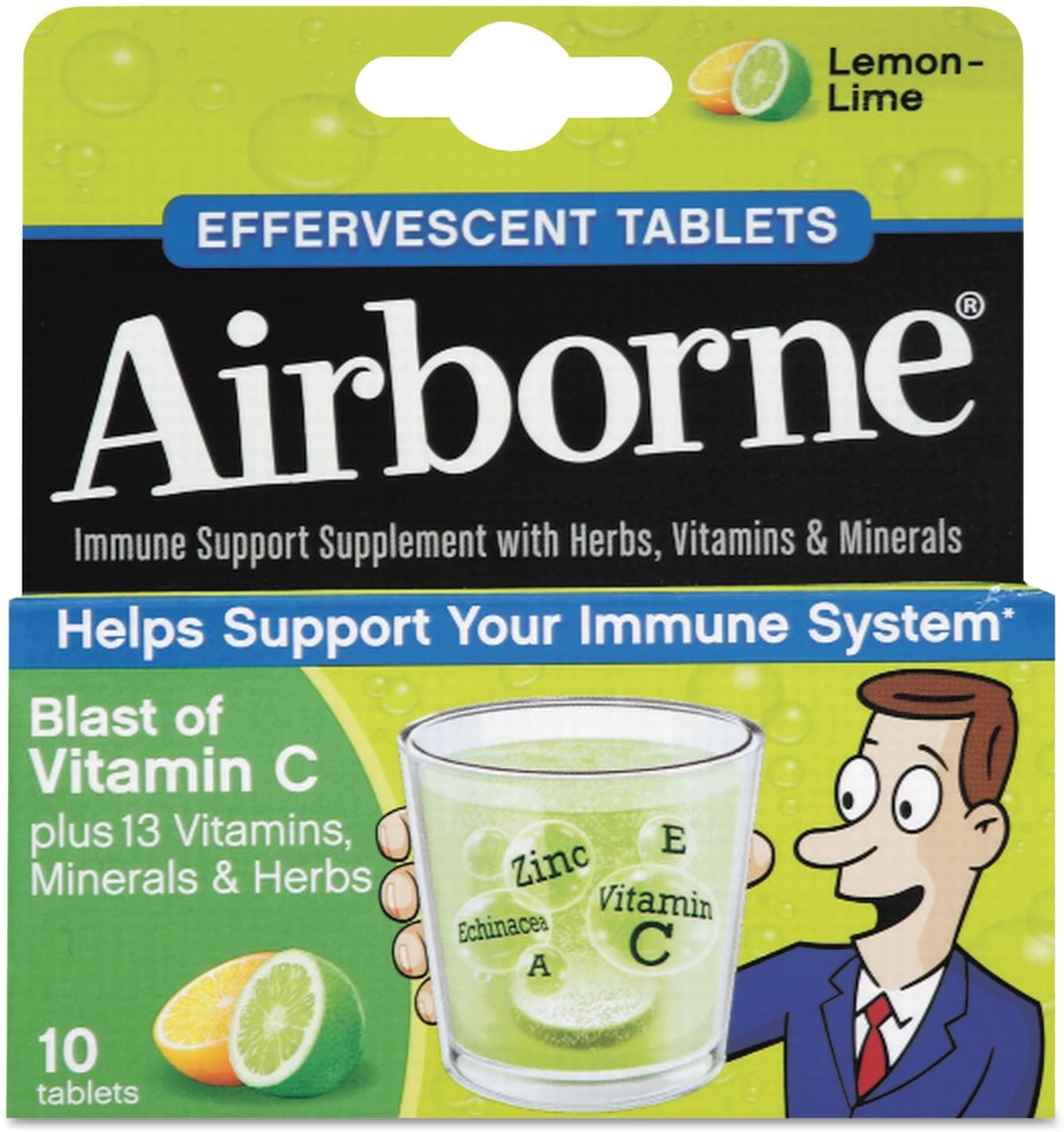 Airborne 30006 Immune Support Effervescent Tablet, Lemon/Lime, 10 Count